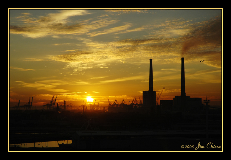 Sunrise over the docks