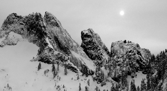 Overcoat Peak and moon