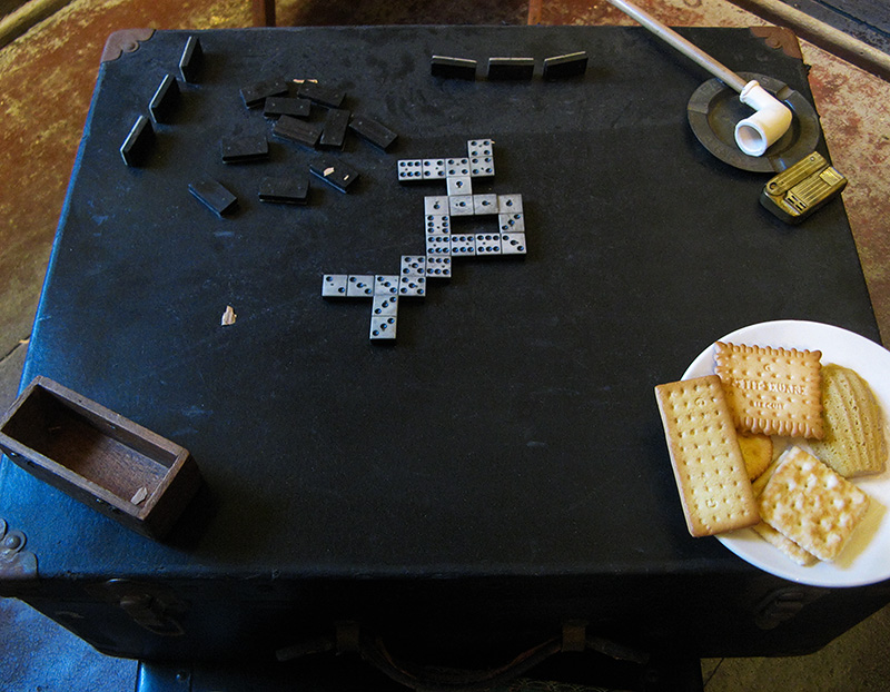 Game table with usual items of the day