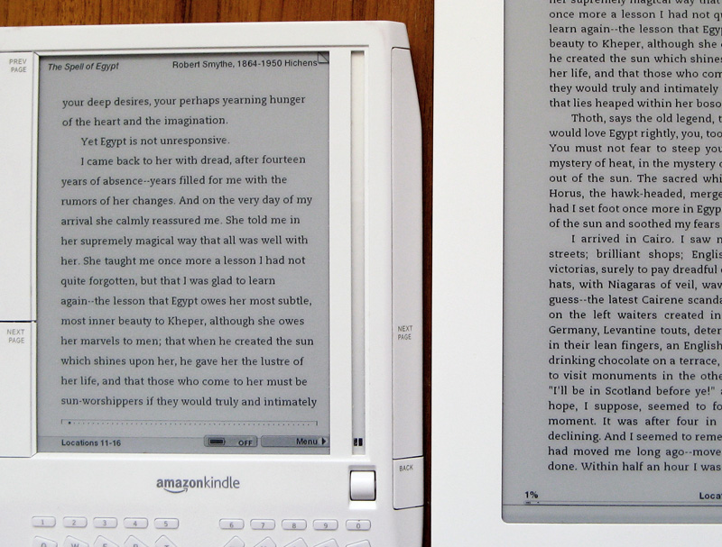 Kindle 1 and DXs generic fonts closer up