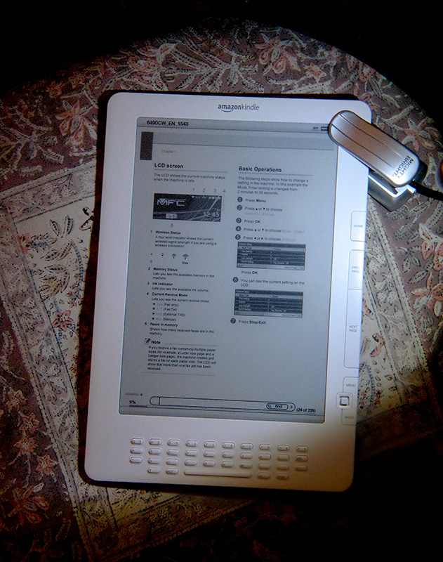 PDF With clip-on light at night, PDF in vertical mode
