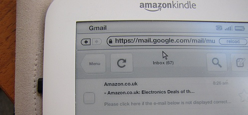 White Kindle 3 Gmail text sample