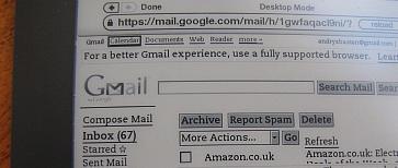 Kindle DXG Gmail text smaple