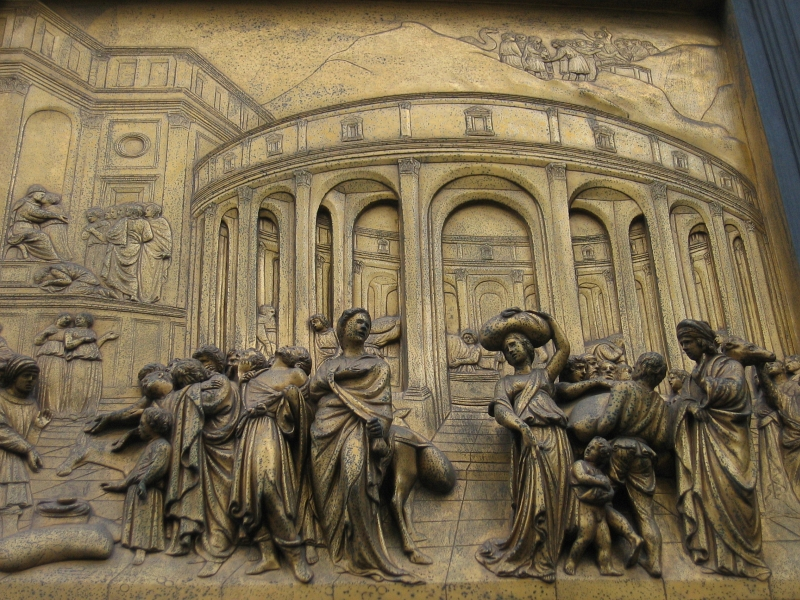 Returned to Ghibertis Doors.  Story of Joseph, 3D-like perspective