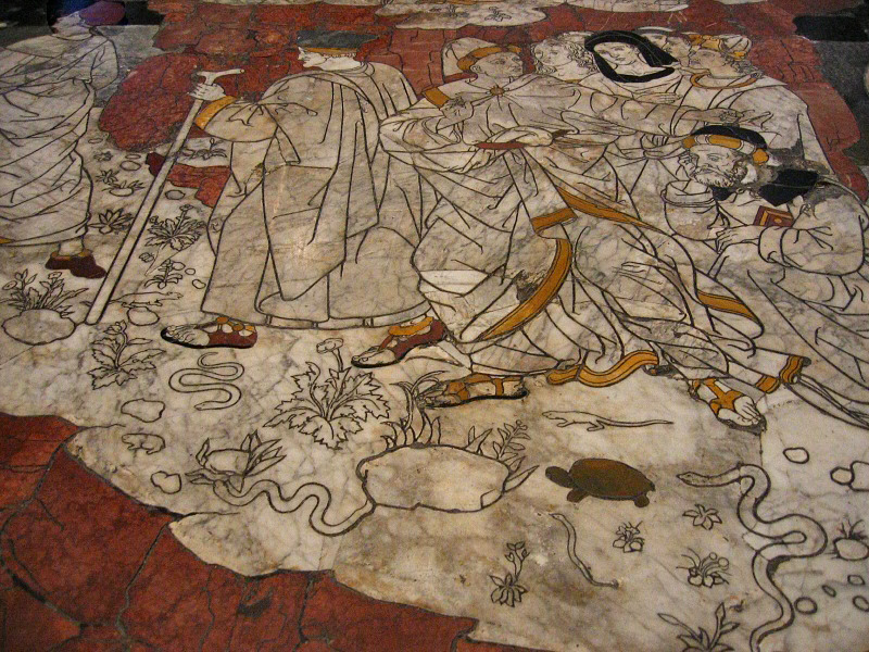 Marble pavement  Story of Fortune - first panel we saw in the Duomo