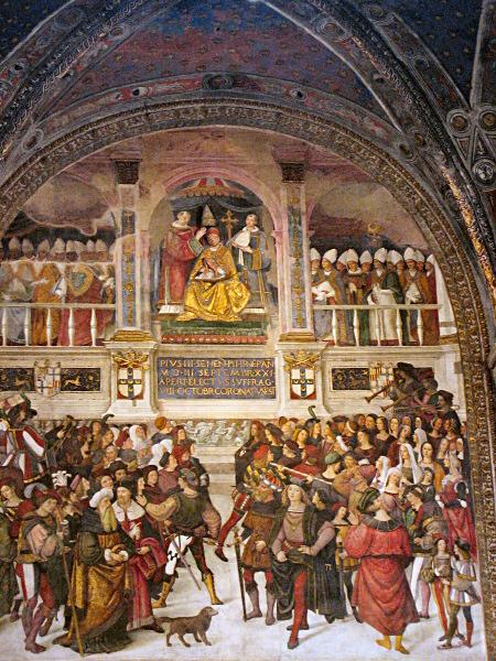 Its by Pinturicchio: Coronation of Pope Pius II