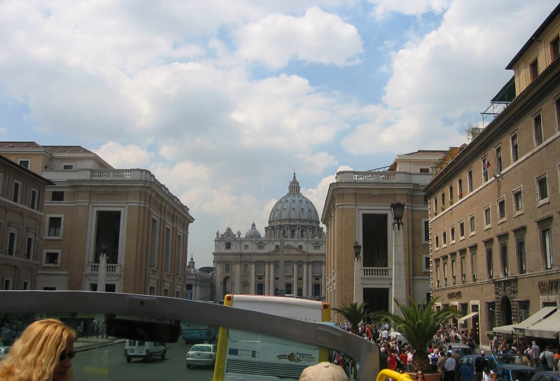 First sight of St. Peters from doubledecker bus