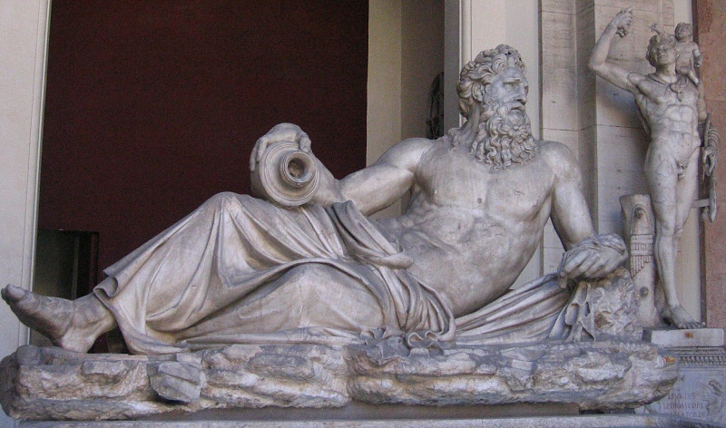 A river god, in the courtyard