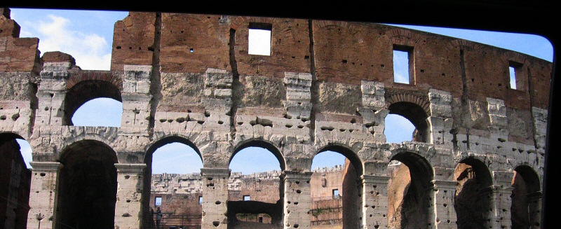 From the taxi too, first closeup look at the Colosseum