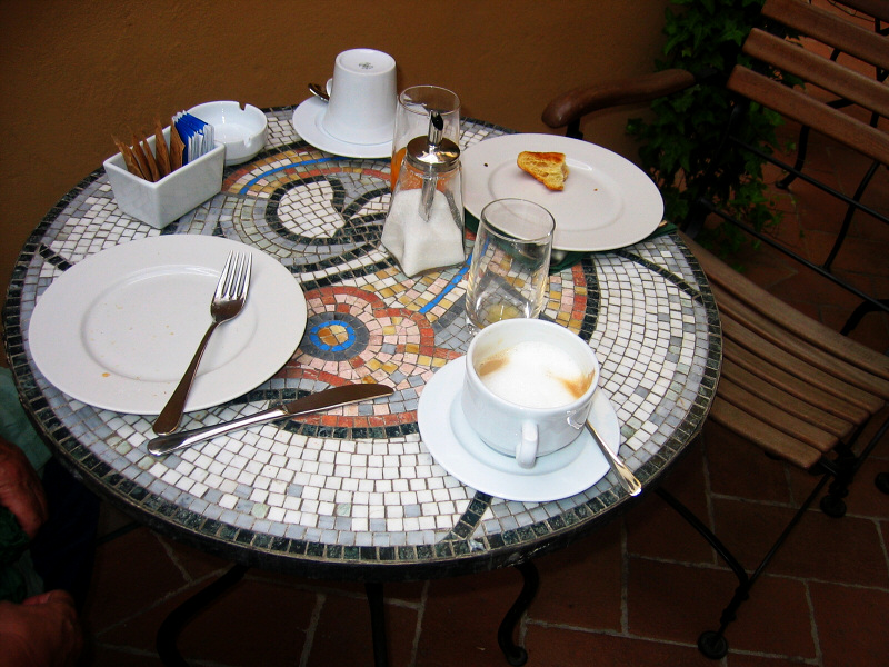 Breakfast in the patio, hand-made marble table