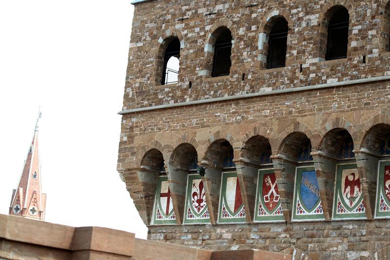 From Uffizi cafe - Palazzo Vecchios heraldic shields