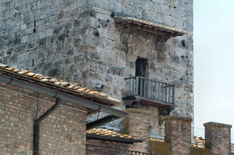 A little balcony area on a tower