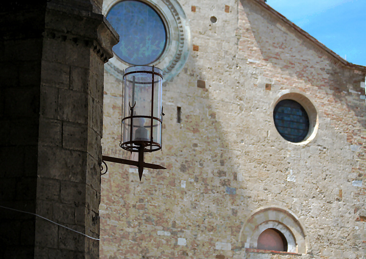 The church via zoom from within loggia