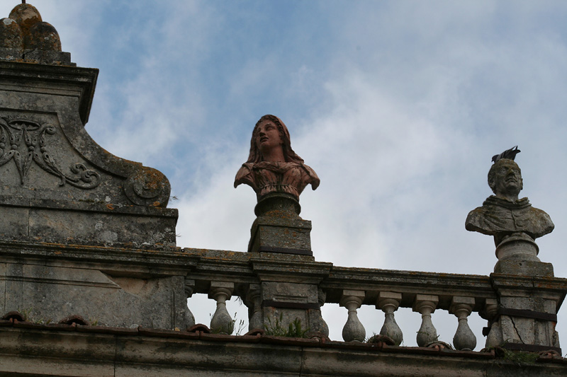 Statues above