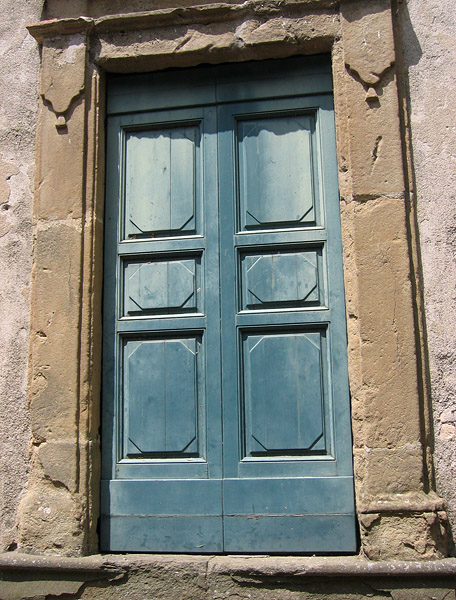 Blue-green door closer up