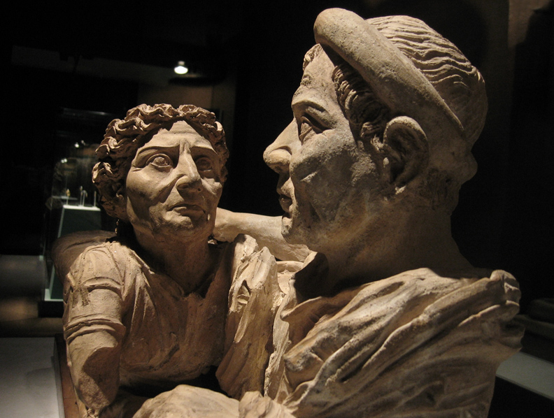 The Spouses - from a cremation urn, 2nd Cent.  B.C.