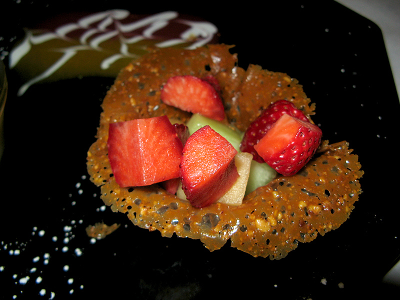 Strawberries on caramel cookie - a favorite dessert