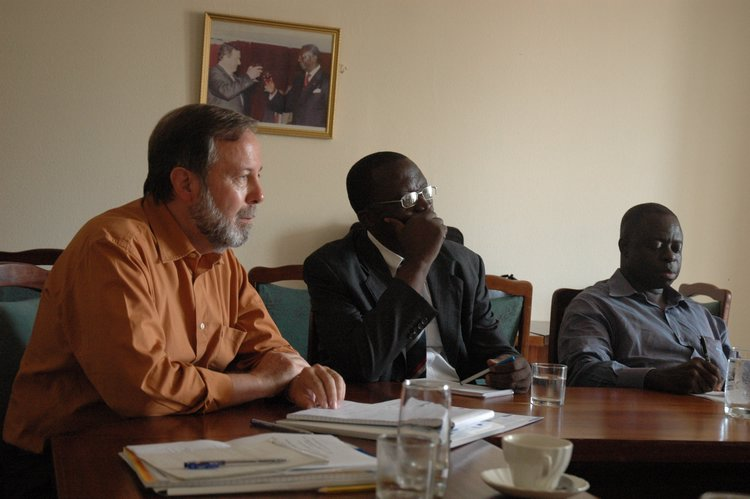 The Foundations project manager for West Africa, Ernst Specht, and Mr Boateng and Prof. Gyimah-Boadi from the CDD