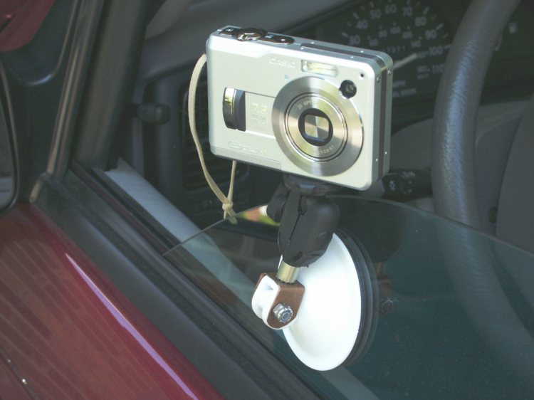 Suction cup mount in use.