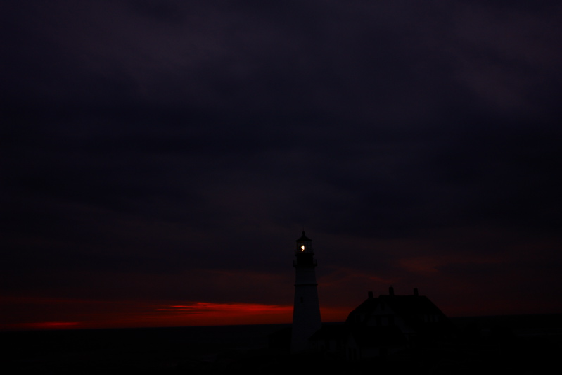 DSC00562.jpg #2 in a sequence PORTLAND HEAD LIGHT lighthouse by donald verger dawn breaks red...