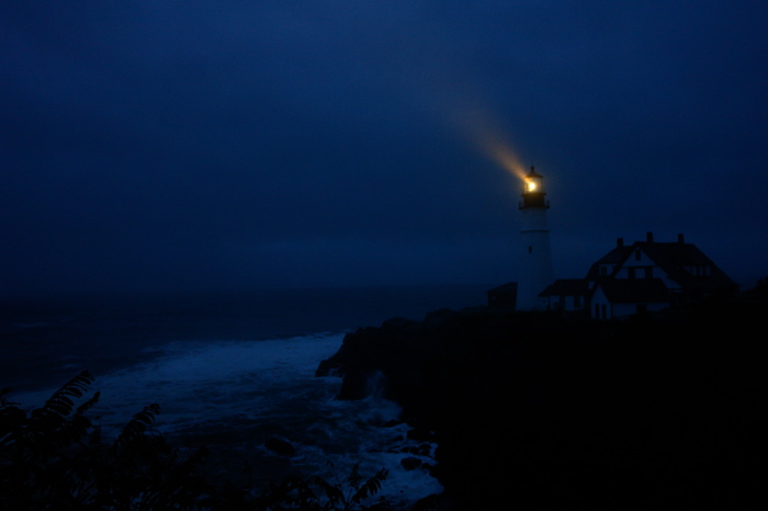 SENTINAL  Giant storm blew in all night and i braved a bit of warm rain to see the ocean flying and the light at work!