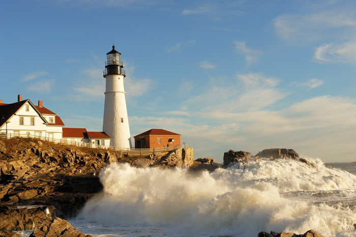 AFTER THE STORM PORTLAND HEAD LIGHT DONVERGER LIGHTHOUSES