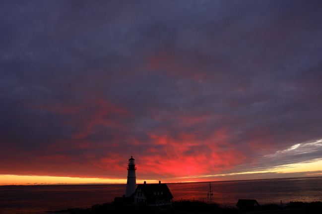 07912.for Robin, pre~dawn!  an explosion of color from all grey! THE EARTH AS A BOWL PORTLAND HEAD LIGHT MAINE LIGHTHOUSES