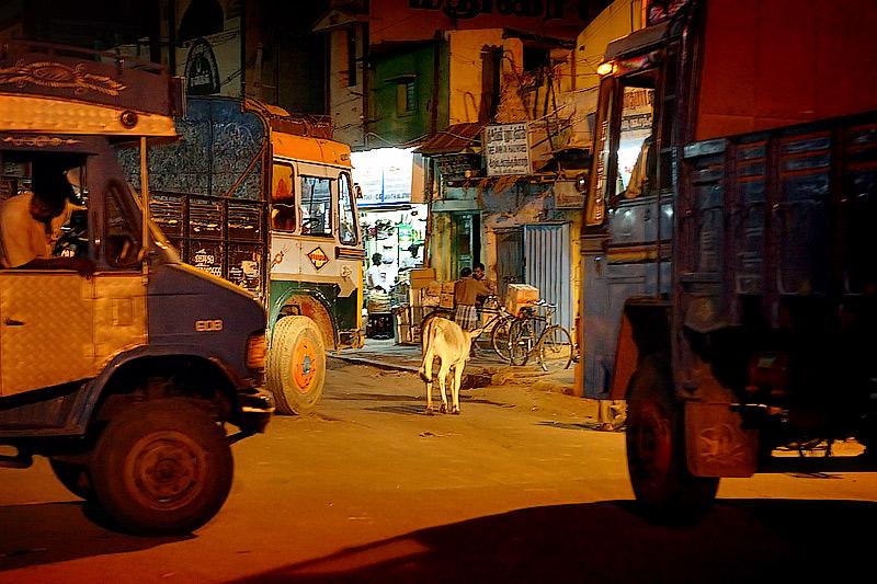 Lorries in the night