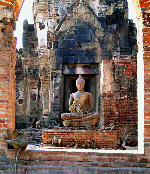 Buddha image with monkeys
