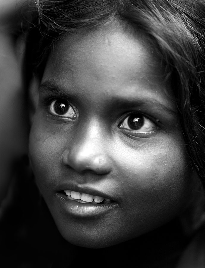 on the streets of Katmandu, Nepal, a homeless child. 2006