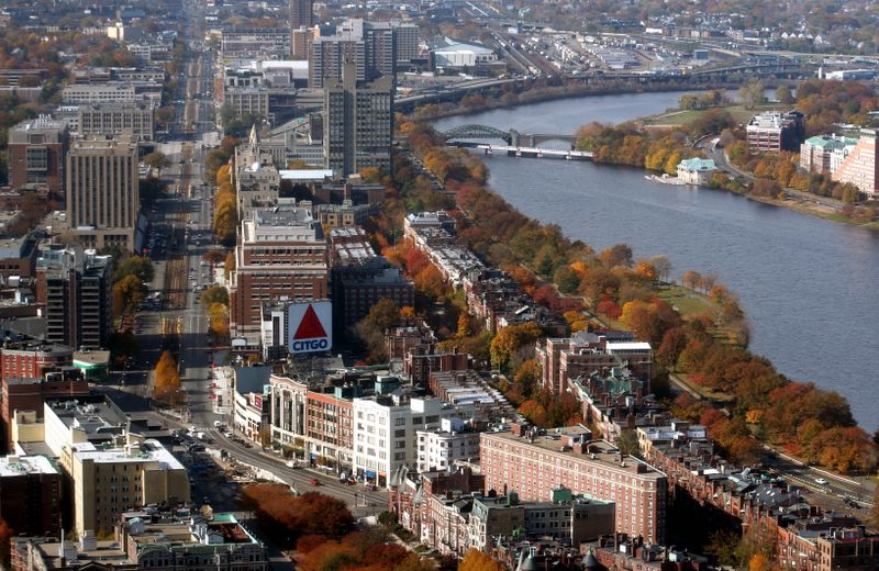 Kenmore Square, Boston University, and the Charles River