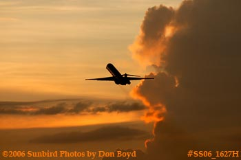 American Airlines MD-80 takeoff at sunset airline aviation stock photo #SS06_1627H