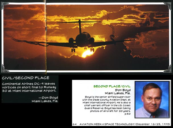 1995 - Aviation Week & Space Technology Annual Photo Contest Issue - 2nd Place in Civil Category