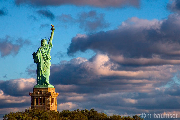 Liberty with clouds