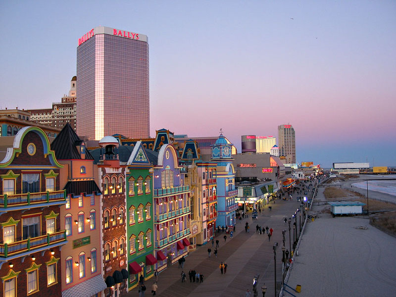 Atlantic City boardwalk at dusk