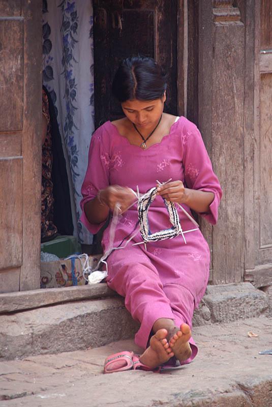 Woman Knitting in Doorway Bhaktapur