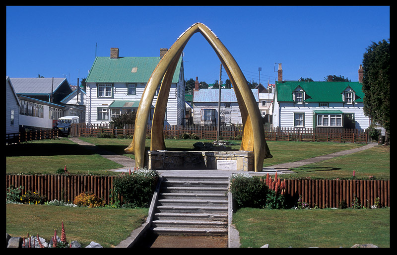 Port Stanley and Whale bone arch