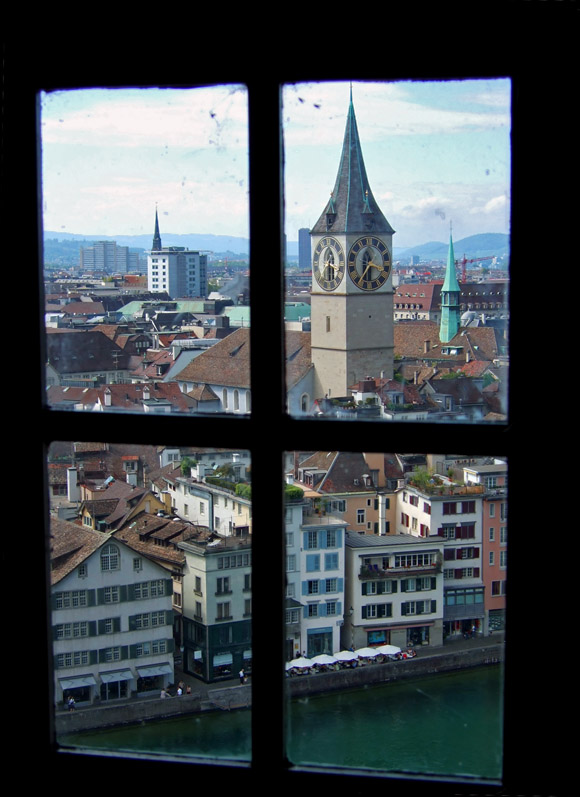 View Grossmuenster to Peters-church in Zurich