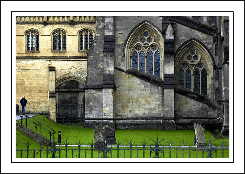 A man in blue, Wells Cathedral, Wells
