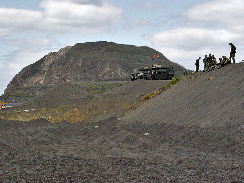Mt. Suribachi, where the American flag was raised