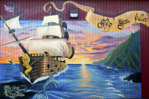 Ship mural, Kapaa, Kauai, HI