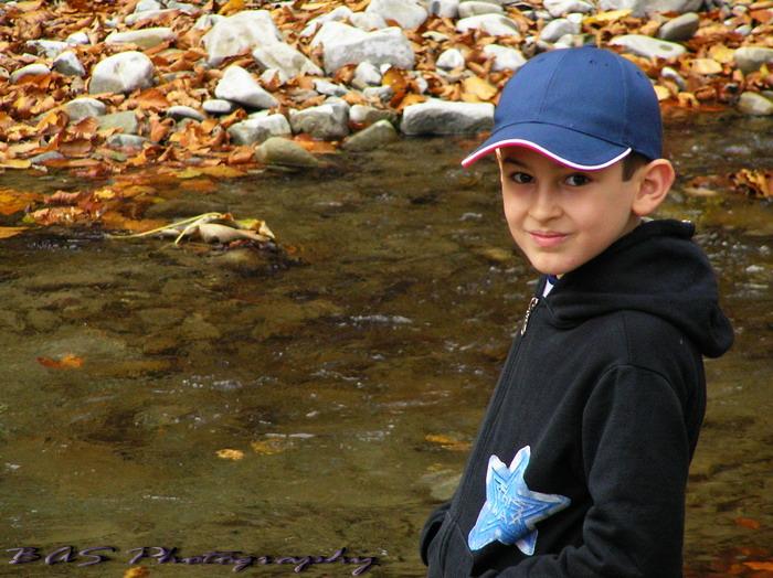 My son Bogdan, at the river