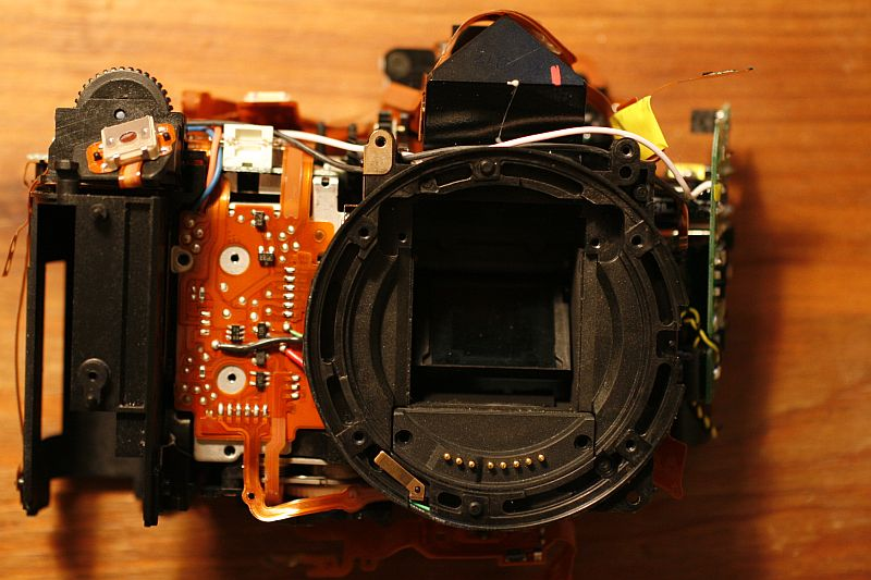 Front of camera after frame removal.