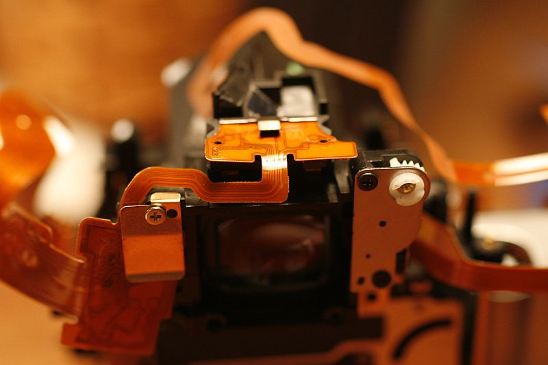 Area around viewfinder (with wires).