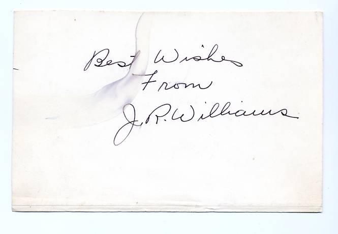 J. R. Williams signature on 4 x 6 index card