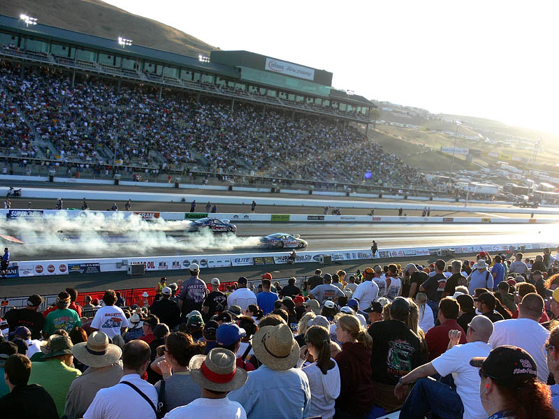 Evening pro stock burnout for the crowd