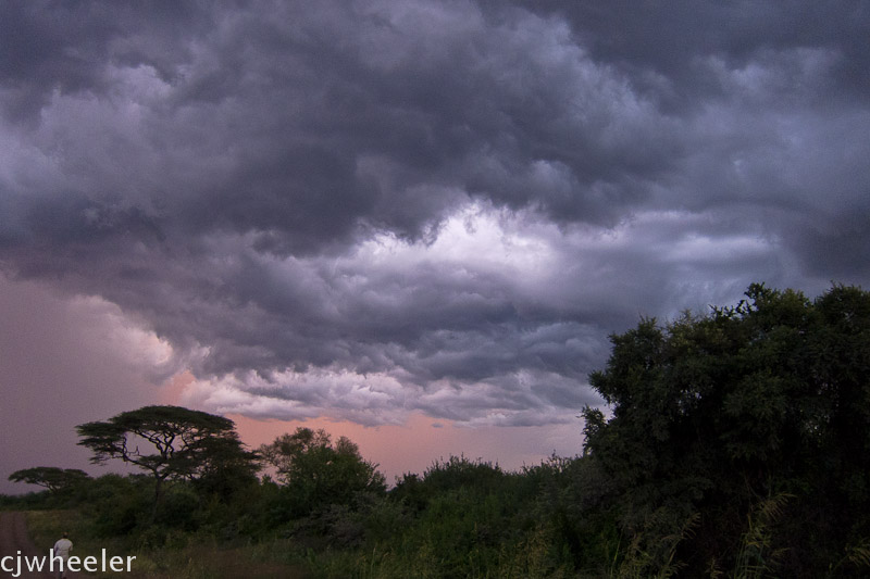 Storm clouds that never dropped rain on us