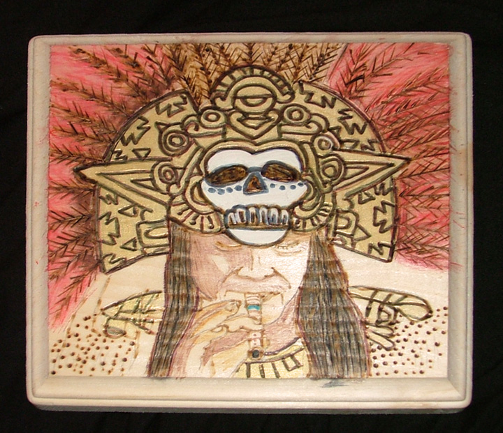 Aztec with Gold  Skull Headdress.