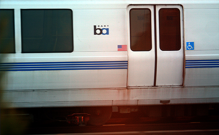 Freeze (mildly) BART train moving directly across