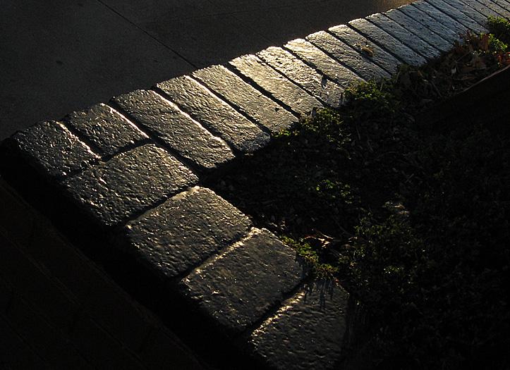 sunset on stone